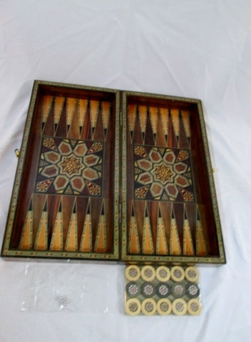 New Persian Wood Inlay BOX Board Game Backgammon Checkers Chess Case