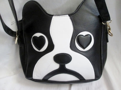 Vegan BULLDOG DOG PUP Hobo Shoulder Bag Crossbody Purse BLACK WHITE