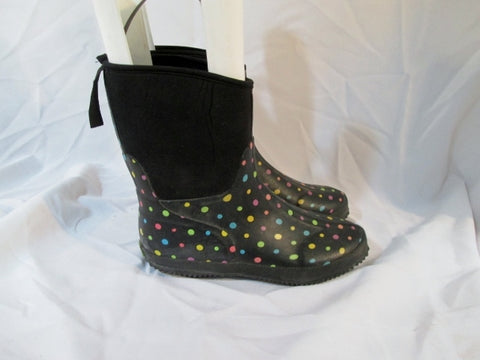 Womens WESTERN CHIEF DITSY DOTS RAIN SNOW Boots 10 MULTI BLACK