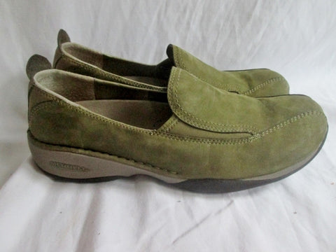 Womens MERRELL PRIMO MOC II Suede Leather Slip on Shoe 8.5 OLIVE GREEN Walking