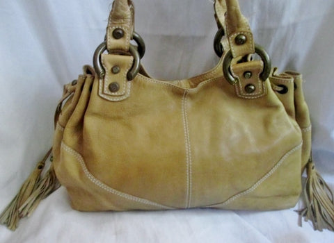 FRANCESCO BIASIA Leather Handbag Shoulder Bag Satchel Hobo Boho TAN BEIGE L