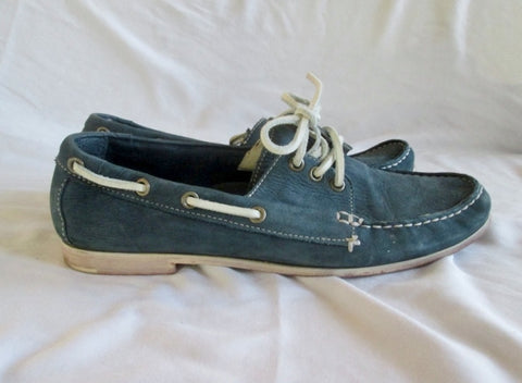 Womens COLE HAAN Leather Moccasins Mocs Walking Shoes Boat SLATE BLUE 10