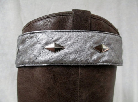 NEW SHIMEEZ Boot Cuffs Faux Suede Topper Fashion Womens Western SILVER STUD SHIMMER