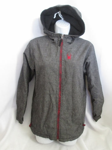 Teen Girl Youth  SPYDER SPYLON Fleece JACKET Coat GRAY XL / TG RED Hood Parka