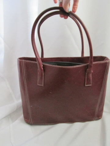 GUIA'S ITALY Genuine Leather Shoulder Bag Tote Satchel Purse Handbag WINE RED Burgundy