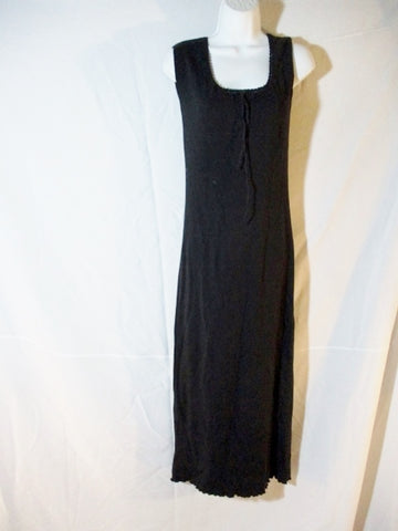 WOMENS RALPH LAUREN 100% Cotton Maxi Full Dress S Black STATEMENT