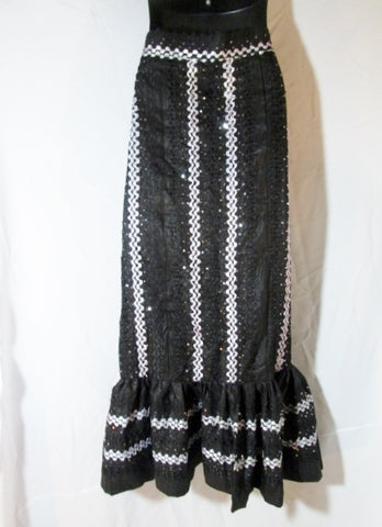 Womens Ruffled Ethnic MAXI SKIRT Ruffle Ribbon Sequin Mermaid L 36 BLACK WHITE