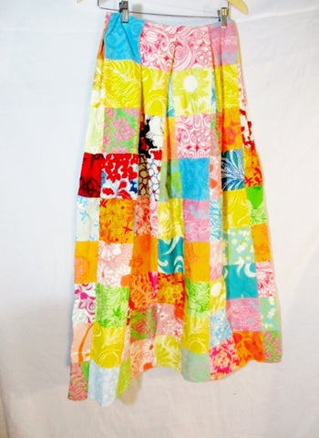 Vintage LILLY PULITZER Hippie Wrap MAXI SKIRT PATCHWORK 10 Multi Womens