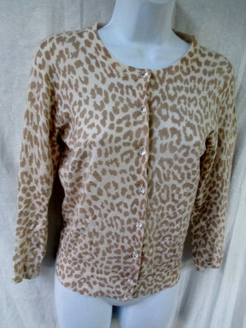 Womens Ladies J. CREW Cardigan Sweater LEOPARD PANTHER S BEIGE WHITE