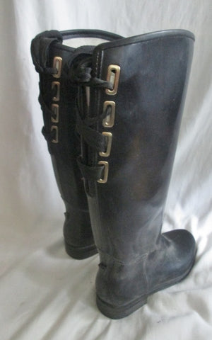 Womens DAV Gumboots Steampunk Wellies Rain Boots Rainboots BLACK 8 Foul Weather