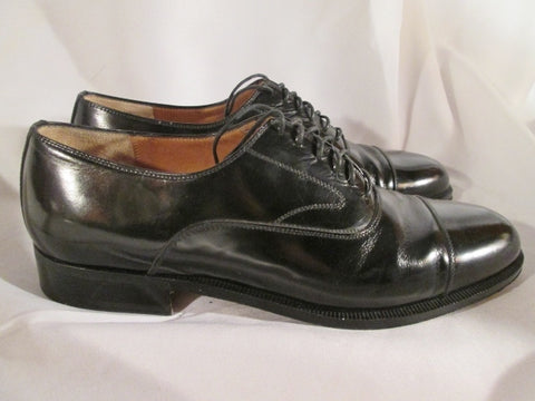 Mens SALVATORE FERRAGAMO Patent Leather Cap Toe OXFORD Loafer Shoe 7.5 BLACK Italy