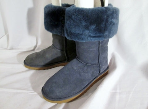 NEW UGG AUSTRALIA 5815 CLASSIC TALL Suede BOOT 8 BLUE INDIGO SLATE Sheepskin