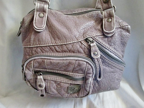 SPARROW TRUE Vegan Faux Leather Hobo Shoulder Bag Purse Crossbody GRAY PATCHWORK