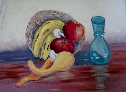 Vintage 1960s PAINTING ART Still Life FRUIT Vase Table Setting HARVEST GOURD SQUASH APPLE