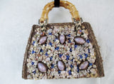Vtg HARI TAYLOR NASSAU STRAW MERMAID HANDBAG Box Purse Satchel SEASHELL RARE!