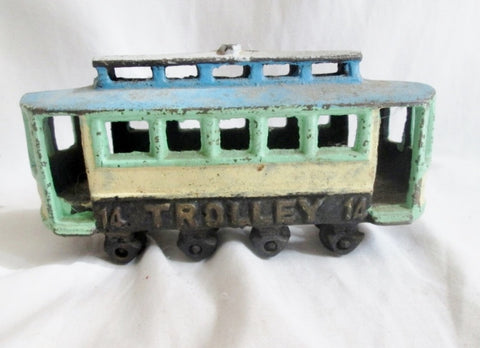 Vintage Antique Cast Iron TROLLEY TRAM MOVING Train Car Toy GREEN BLUE Estate Find