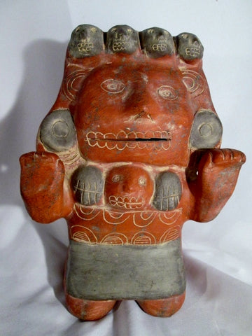 MEXICAN MEXICO MOTHER CHILD BABY Ceramic Sculpture Creepy Art SKULL Primitive Figure Ethnic Folk Terra Cotta
