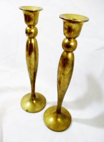 "Set 2 FORTUNOFF BRASS 11"" Candelabra Candle Holder Candlestick Mood Table Decor"