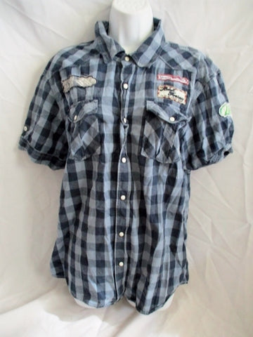 Mens WHITE OWL CLOTHING Embroidered PATCH Plaid Shirt Top XL GRAY BLACK