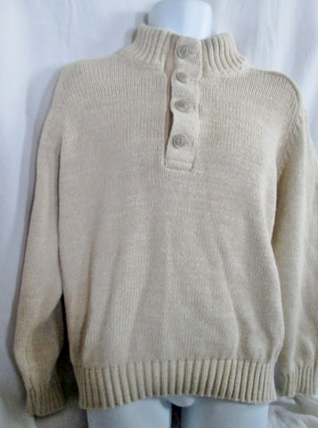 EUC Mens L.L. BEAN Knit 100% Cotton Jacket Sweater ECRU CREME TAN BEIGE L