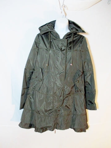 NEW MONCLER  JACKET Coat Sz 2 ALBATRE GIUBUTTO GREEN Womens OLIVE Ruffle