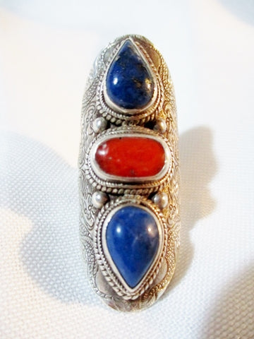 925 STERLING Silver Ethnic CORAL Ring Sz 8 LAPIS LAZULI BLUE 16g STATEMENT Band Jewelry Tribal Wedding