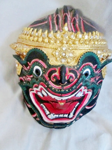 Handmade  Thai Khon dancer Dragon Head Papier Mache MASK Colorful Display Asian Wall Art