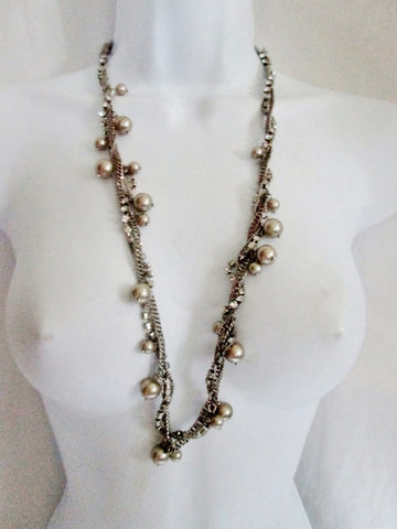 "30"" J. CREW Triple Strand CHAINLINK RHINESTONE Faux Pearl Necklace SILVER Statement"