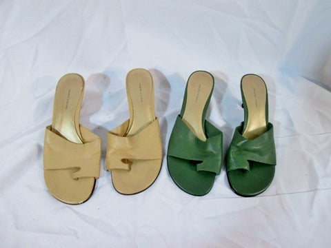 Lot Womens VALERIE STEVENS SANDAL SHOE LEATHER 8.5 Thong GREEN BEIGE