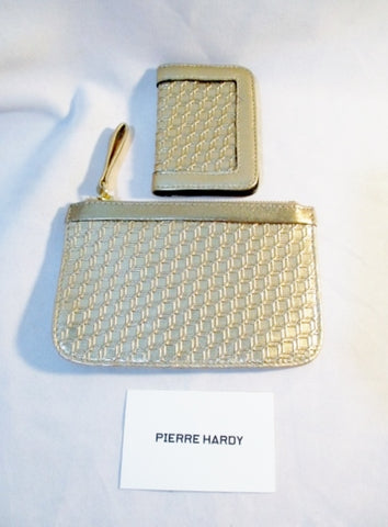 NEW Set PIERRE HARDY 3D CUBES Clutch Change Purse GOLD Card Holder