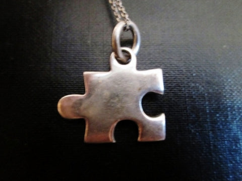 "15"" STERLING SILVER JIGSAW PUZZLE PIECE Pendant Chain NECKLACE Charm Autism Awareness"