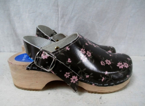 NEW KIDS GIRLS CAPE COD Sweden Leather Clogs Shoes Slip-On 3 BROWN FLORAL