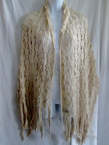 Womens Made in Italy Fringe Crochet Knit NECK SCARF Shawl Wrap CREME BEIGE ECRU