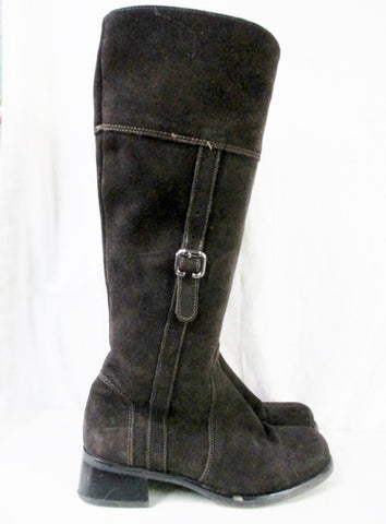 Womens LA CANADIENNE Suede Leather Tall BOOT Shoe Waterproof BROWN 6