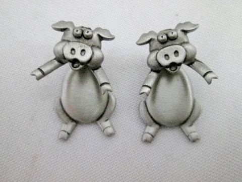 Vintage Set JJ PEWTER Pierce Earrings Moving Animal PIG FARM Oink Cute Country Chic