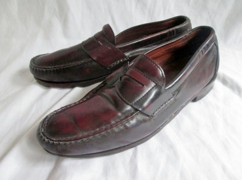 ALLEN EDMONDS WALDEN USA Leather Pinch Penny Loafers 10.5 BURGUNDY Shoes Mens