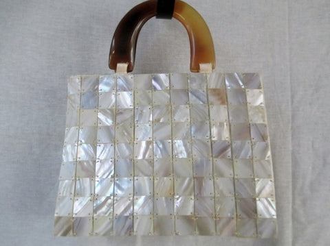 Vtg MOTHER OF PEARL Geometric MERMAID HANDBAG Box Purse Satchel SEASHELL RARE!