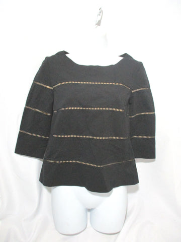 AKRIS PUNTO 100% SILK Tunic Shirt Top S BLACK Knit Stripe WOMENS