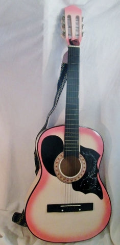 PINK TROPICAL Style Classical Acoustic Guitar Musical Instrument Wood 6 string Bundle