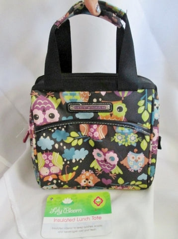 NEW NWT LILY BLOOM OWL COOLER Picnic Lunch Work Bird Sack Bag BLACK