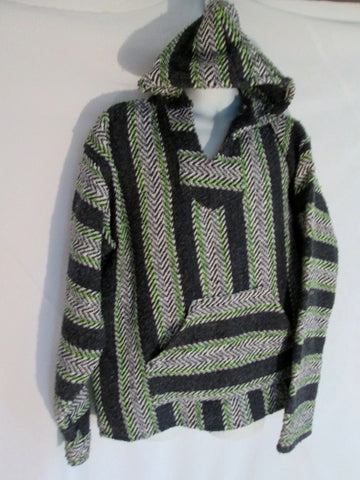Mens BAJA JOE MEXICO Hoodie Woven Beach Cover Up Top Hippie XL GRAY Stripe