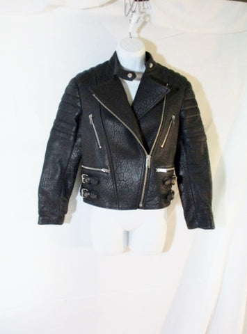 New CELINE ITALY LEATHER Moto Riding jacket coat 40 BLACK Rocker Womens Flight Bomber