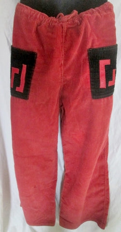 Womens Mens BABALU ARTESANIA Corduroy Indie Hipster Drawstring PANTS RED Tribal