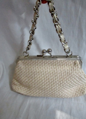 THE SAK Knit Woven Vegan Clutch Purse Evening Bag ECRU WHITE CREME