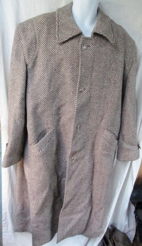 Mens Vtg Wool Herringbone maxi jacket coat peacoat Hipster L GRAY WHITE