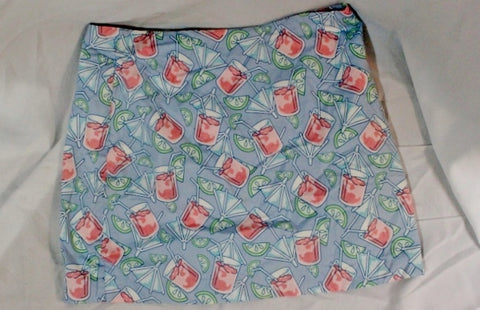 Womens VINEYARD VINES Cotton Mini SKIRT 10 Preppy DRINK UMBRELLA BLUE PINK