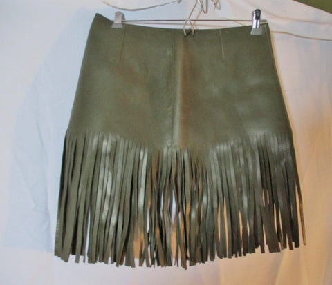 NWT New CELINE LAMBSKIN LEATHER FRINGE SKIRT 38 GREEN LODEN Boho Womens