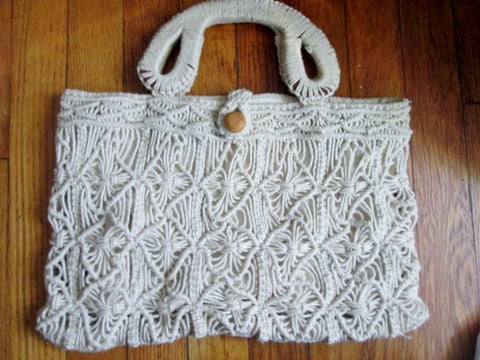 Vtg HANDMADE macrame crochet woven knit vegan clutch bag satchel purse WHITE string