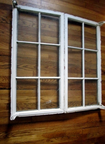 Vtg Pair 2 Primitive CAST IRON Metal FRENCH WINDOW Set Rustic Architectural Salvage