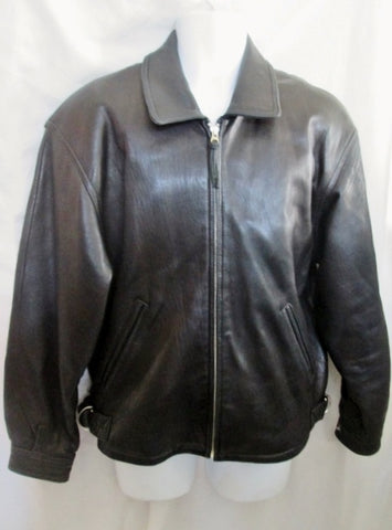 MENS COUTURE BY J. PARK Lambskin LEATHER Moto Riding bomber jacket BLACK S coat